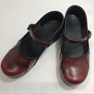 Dansko Red Leather Marcelle Mary Janes